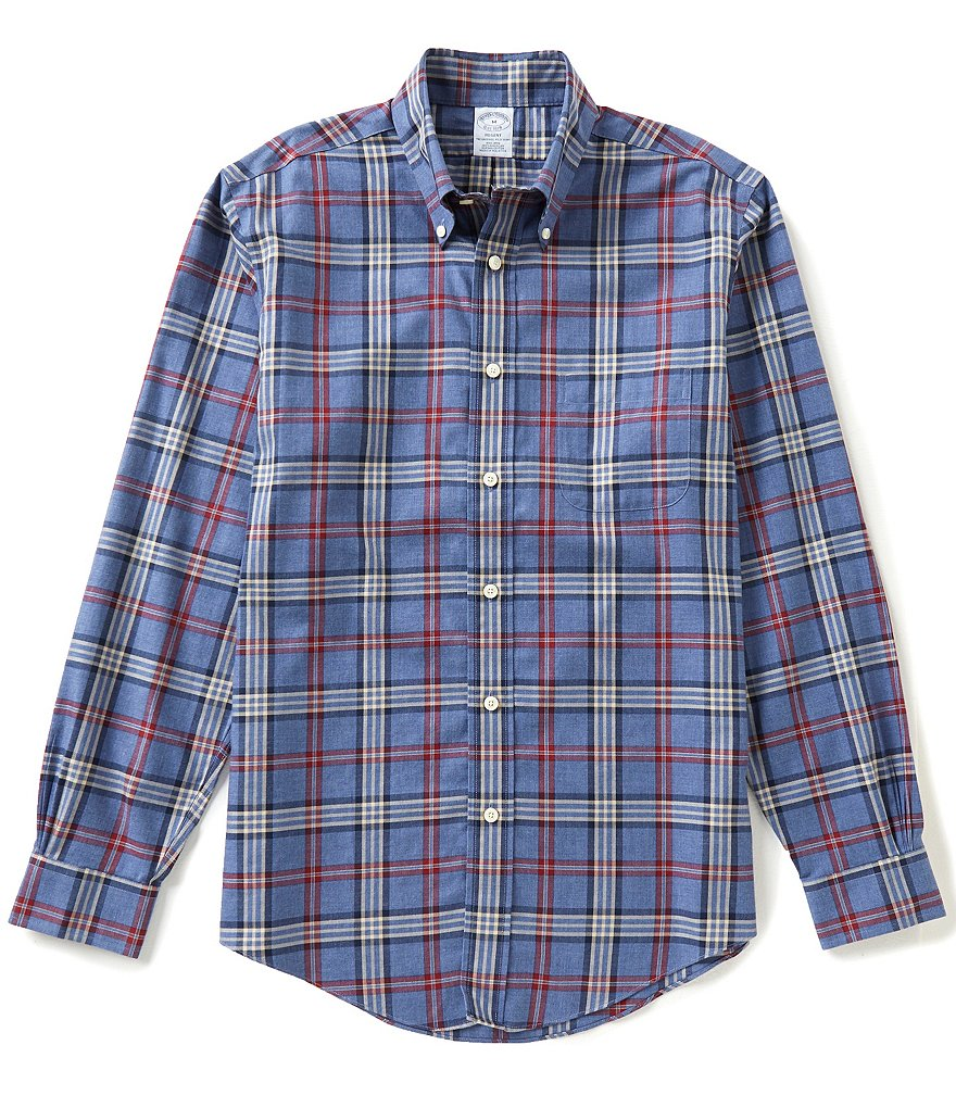 Brooks Brothers Non-Iron Tartan Regent-Fit Long-Sleeve Woven Shirt