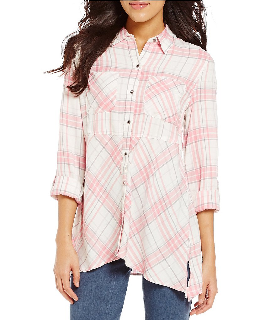 Westbound Button Front Sharkbite Hem Plaid Top