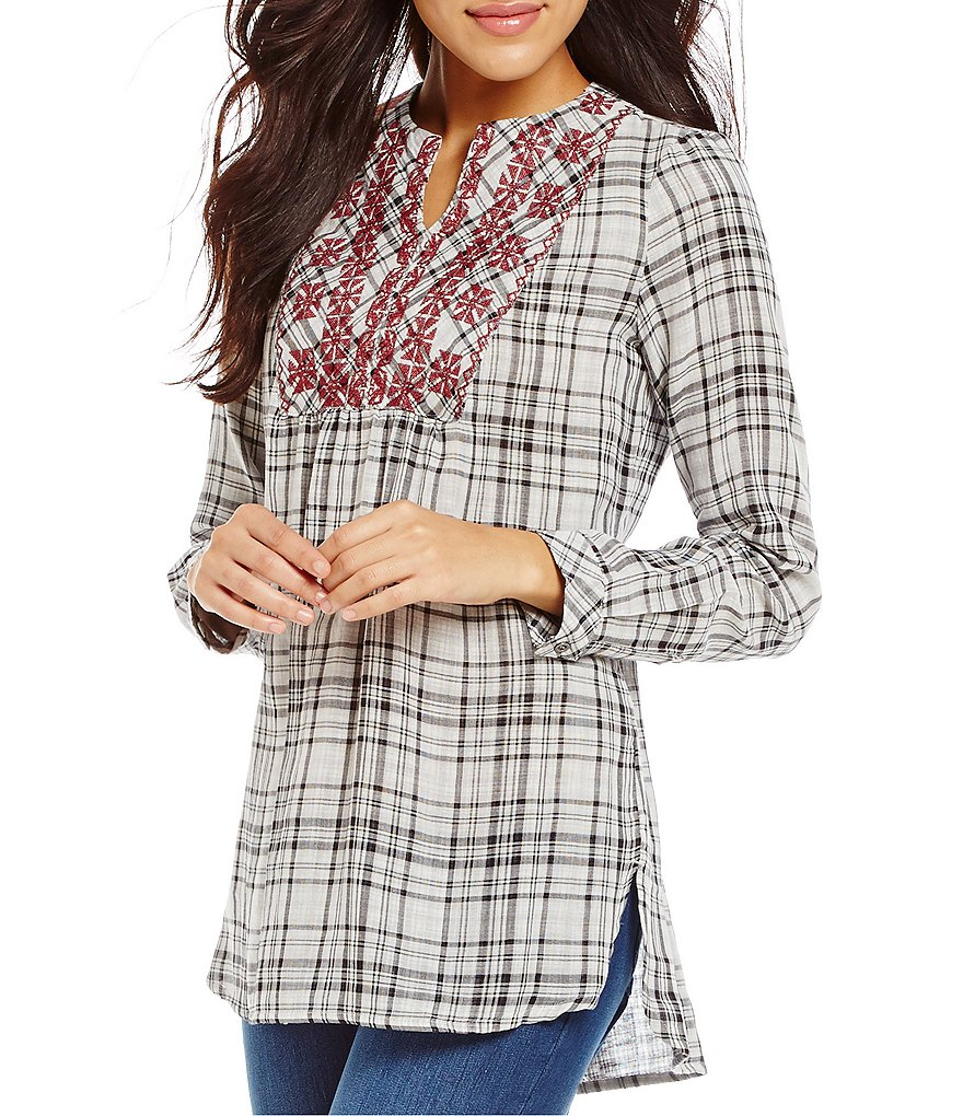 Westbound Long Sleeve Embroidered Pullover Plaid Top