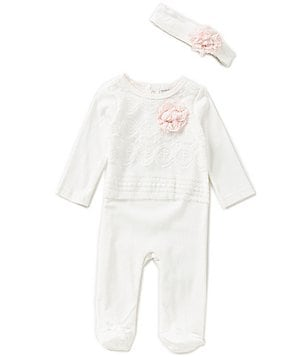Wendy Bellissimo Baby Girls 3-9 Months Lace-Interlock Footed Coverall