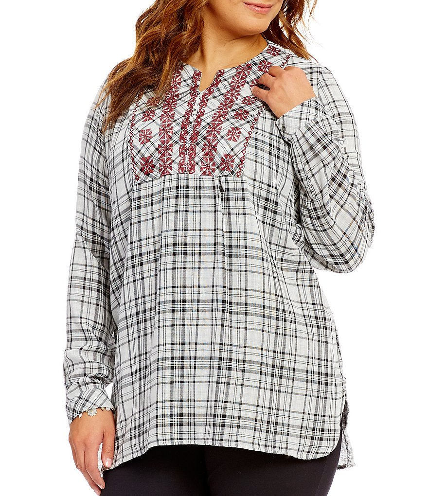 Westbound Plus Long Sleeve Embroidered Pullover Top