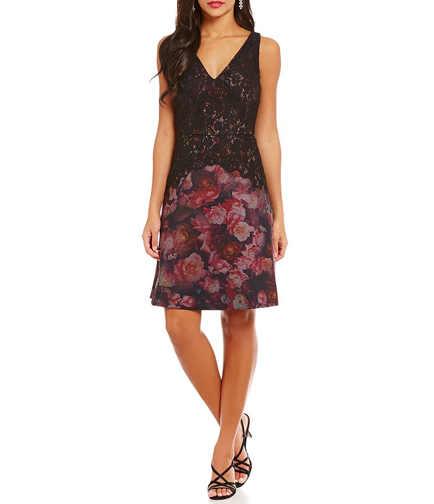 Adrianna Papell Rose Print Knit Fit-and-Flare Lace Overlay Dress