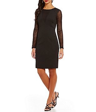 Adrianna Papell Illusion V-Neck Lace Long Sleeve Sheath Dress