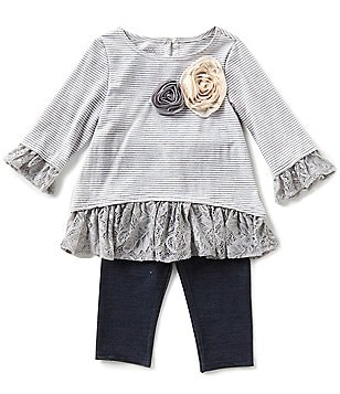 Marmellata Baby Girls Newborn-24 Months Lace-Trimmed Striped Top and Solid Leggings Set