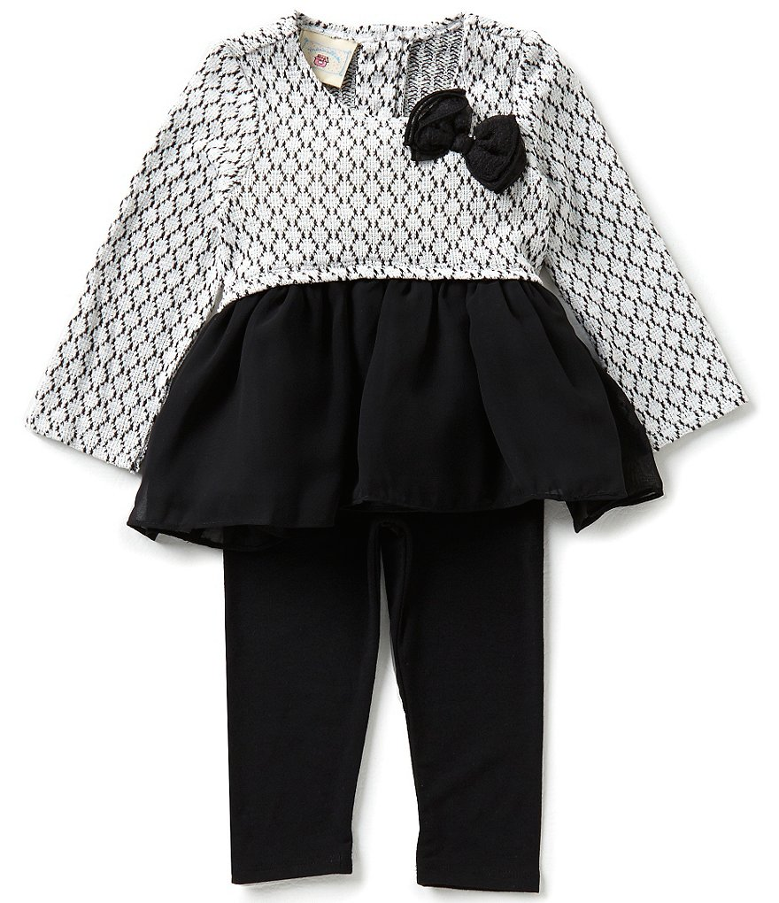 Marmellata Baby Girls Newborn-24 Months Bow-Accented Top & Solid Leggings Set