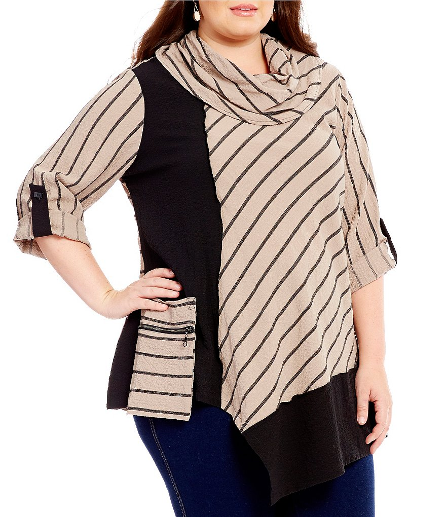 Ali Miles Plus Cowl Neck Asymmetric Hem Tunic