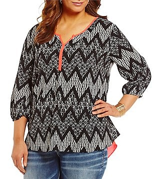 Moa Moa Plus Printed Split Back V-Neck 3/4 Sleeve Tunic
