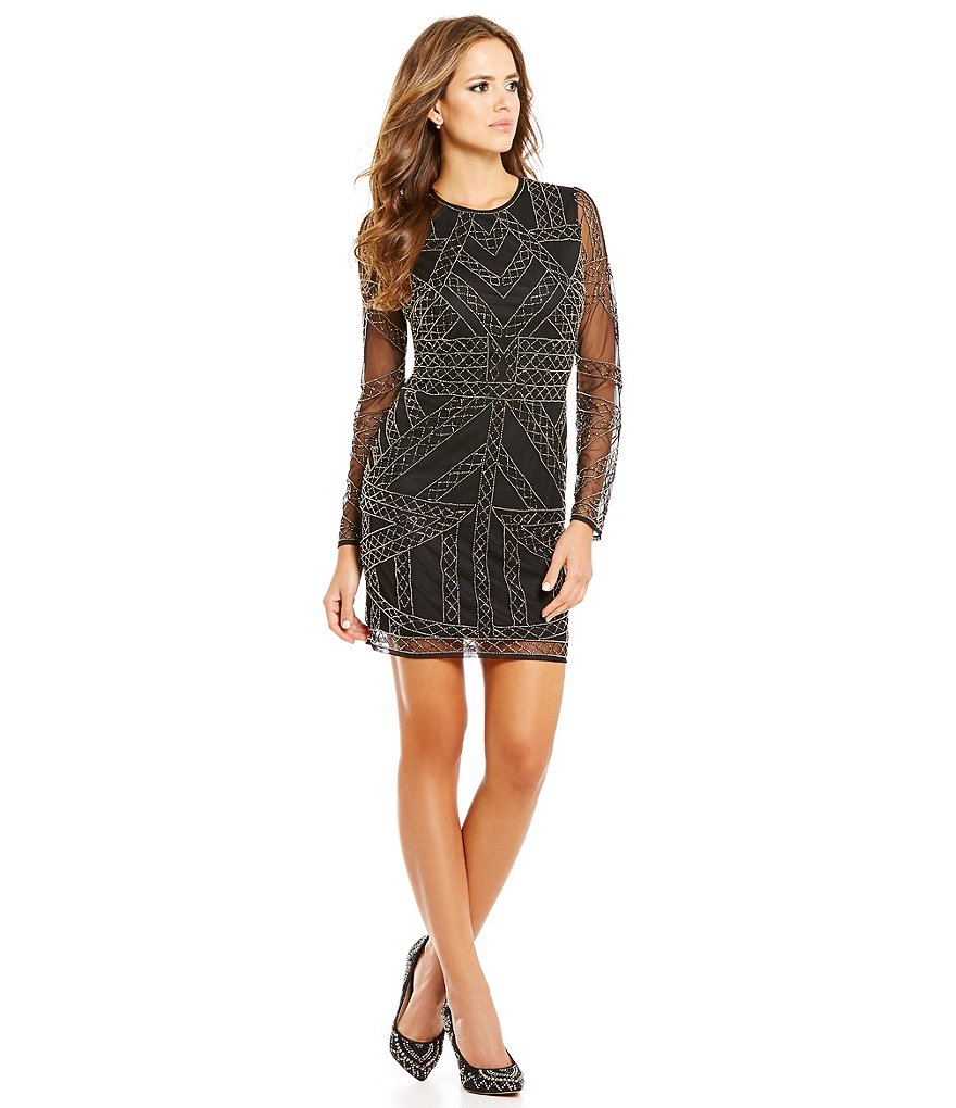 Gianni Bini Social Tori Long Sleeve Beaded Sheath Dress