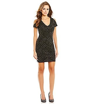 Gianni Bini Social Corrine Cold-Shoulder Beaded Dress