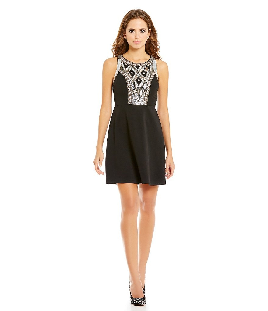 Gianni Bini Social Wren Jewel Bodice A-Line Dress