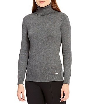 Calvin Klein Ribbed Fine Gauge Turtleneck Sweater