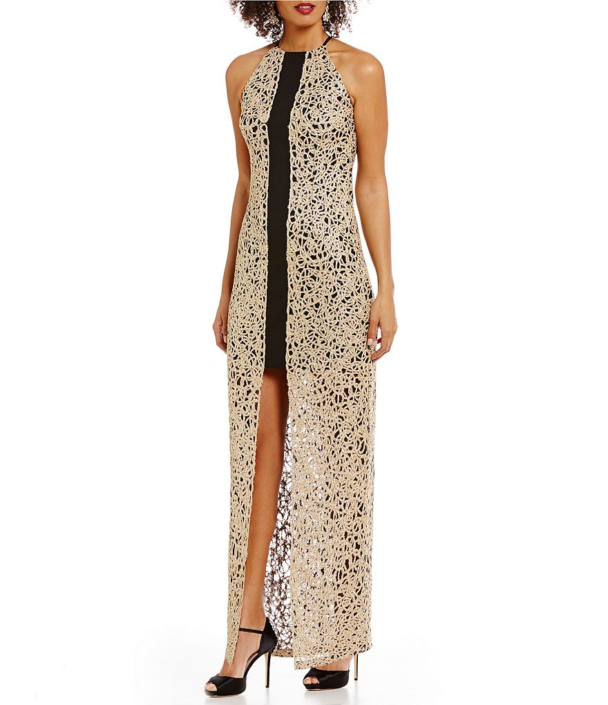 Belle Badgley Mischka Victoria Lace Overlay Sheath Dress