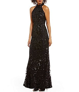 Belle Badgley Mischka Turtleneck Floral Sequin Jaicee Dress
