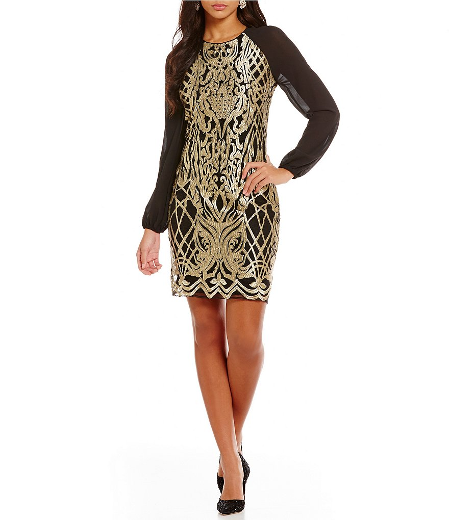 Belle Badgley Mischka Jameson Sheath Long Sleeve Dress