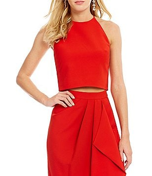 Belle Badgley Mischka Nora Crepe Crop Top
