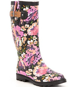 Chooka Audrey Floral Print Waterproof Rubber Tall Rain Boots