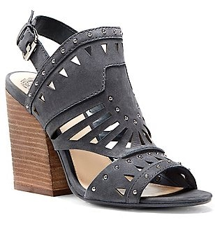 Vince Camuto Reston Suede Laser-Cut Studded Peep-Toe Shooties