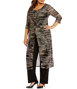 R&M Richards Plus Mock 3-Piece Space-Dye Duster Pant Set