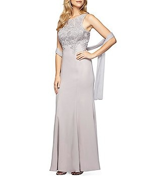 Alex Evenings Crew Neck Sleeveless Embroidered-Bodice Gown