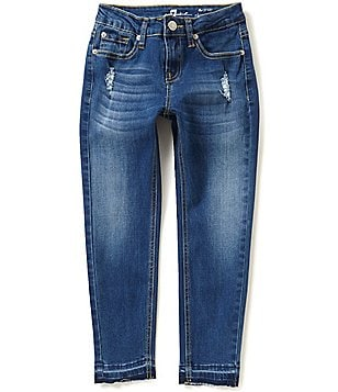 7 for All Mankind Big Girls 7-14 Skinny Distressed Released-Hem Jeans