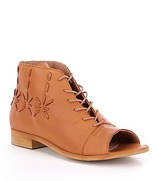 Coolway Cira Leather Lace-Up Peep Toe Booties