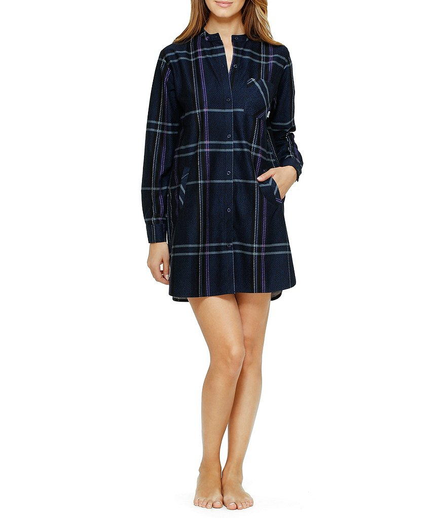 DKNY Plaid Fleece Sleepshirt