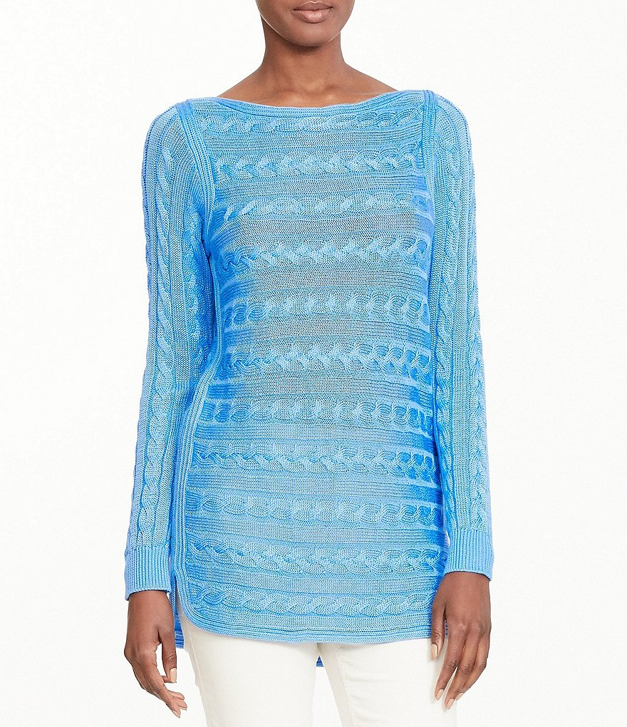 Lauren Ralph Lauren Cable-Knit Hi-Low Hem Sweater