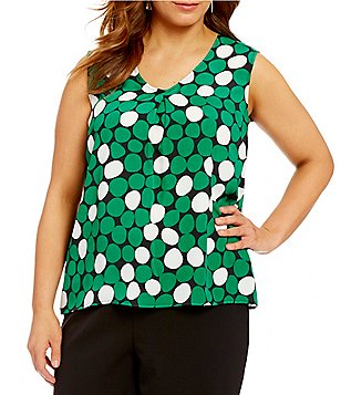 Kasper Plus Printed V-Neck Sleeveless Blouse
