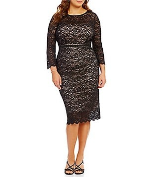Alex Evenings Plus Lace Scalloped Hem Sheath Dress