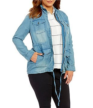 Blu Pepper Plus Denim Front-Zip Drawstring-Waist Utility Jacket