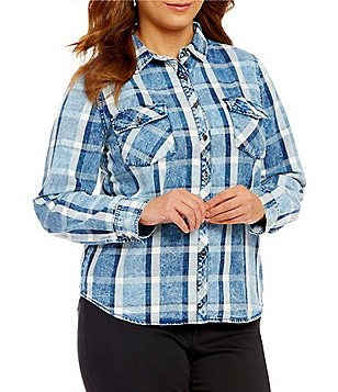 Blu Pepper Plus Denim Plaid Button Front Top