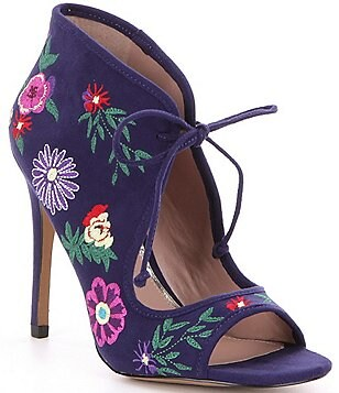 Betsey Johnson Caira Floral Embroidered Print Peep-Toe Booties