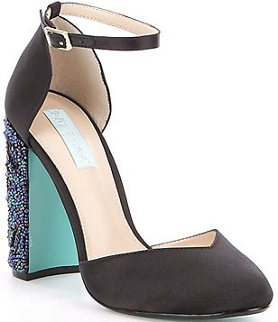 Blue by Betsey Johnson Sybil Satin Bead & Sequin Block Heel Pumps