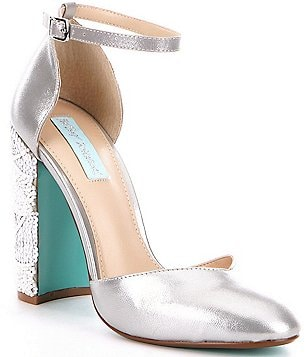 Blue by Betsey Johnson Sybil Metallic Bead & Sequin Embellished Pumps