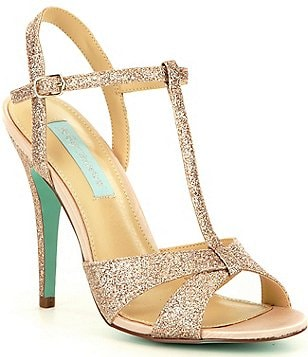 Blue by Betsey Johnson Teena Glitter T-Strap Dress Sandals
