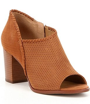 Jack Rogers Maya Perforated Nubuck Whipstitched Block Heel Peep Toe Booties