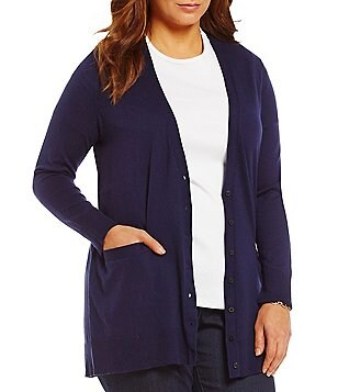 Lauren Ralph Lauren Plus Stretch Cotton V-Neck Cardigan