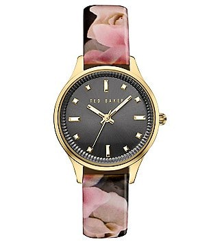 Ted Baker London Zoe Analog Iconic Floral Leather-Strap Watch