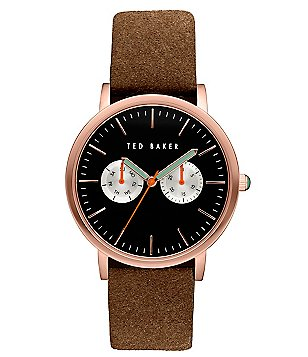 Ted Baker London Brit Multifunction Suede-Strap Watch