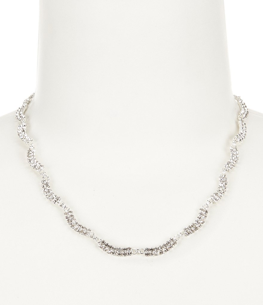 Cezanne Rhinestone Wave Links Necklace