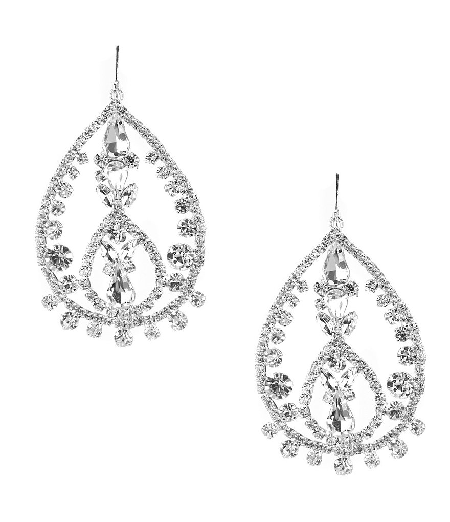 Cezanne Rhinestone Lace Teardrop Chandelier Statement Earrings