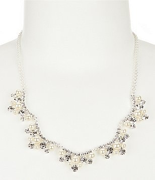 Cezanne Curves Faux-Pearl & Rhinestone Collar Necklace