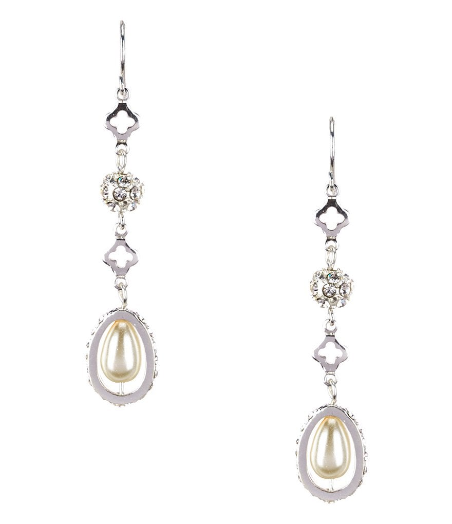 Cezanne Rosary Link Faux-Pearl Drop Earrings