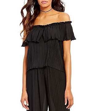 Lucy Paris Pleated Off-the-Shoulder Short Sleeve Top