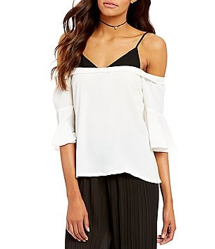 Lucy Paris Paula Cold-Shoulder 3/4 Bell Sleeve V-Neck Blouse