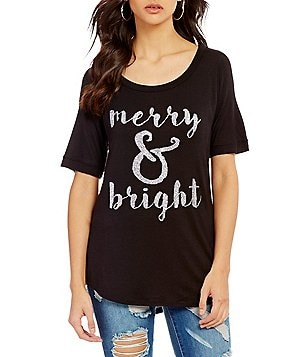 C&V Chelsea & Violet Merry & Bright Christmas Graphic Tee