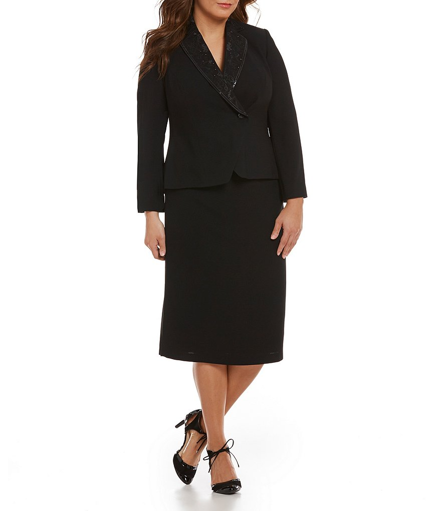 John Meyer Plus 2-Piece Beaded Crepe Skirt Suit