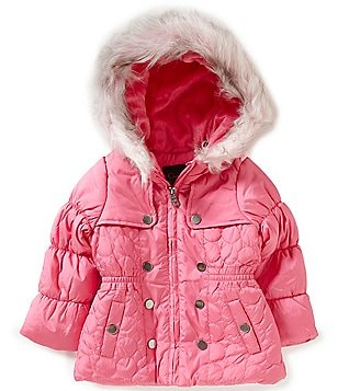 Jessica Simpson Little Girls 2T-6X Hooded Faux-Fur Fashion Quilt Coat