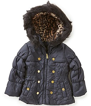 Jessica Simpson Little Girls 2T-6X Faux-Fur Trimmed Hooded Fashion Quilted Parka Coat