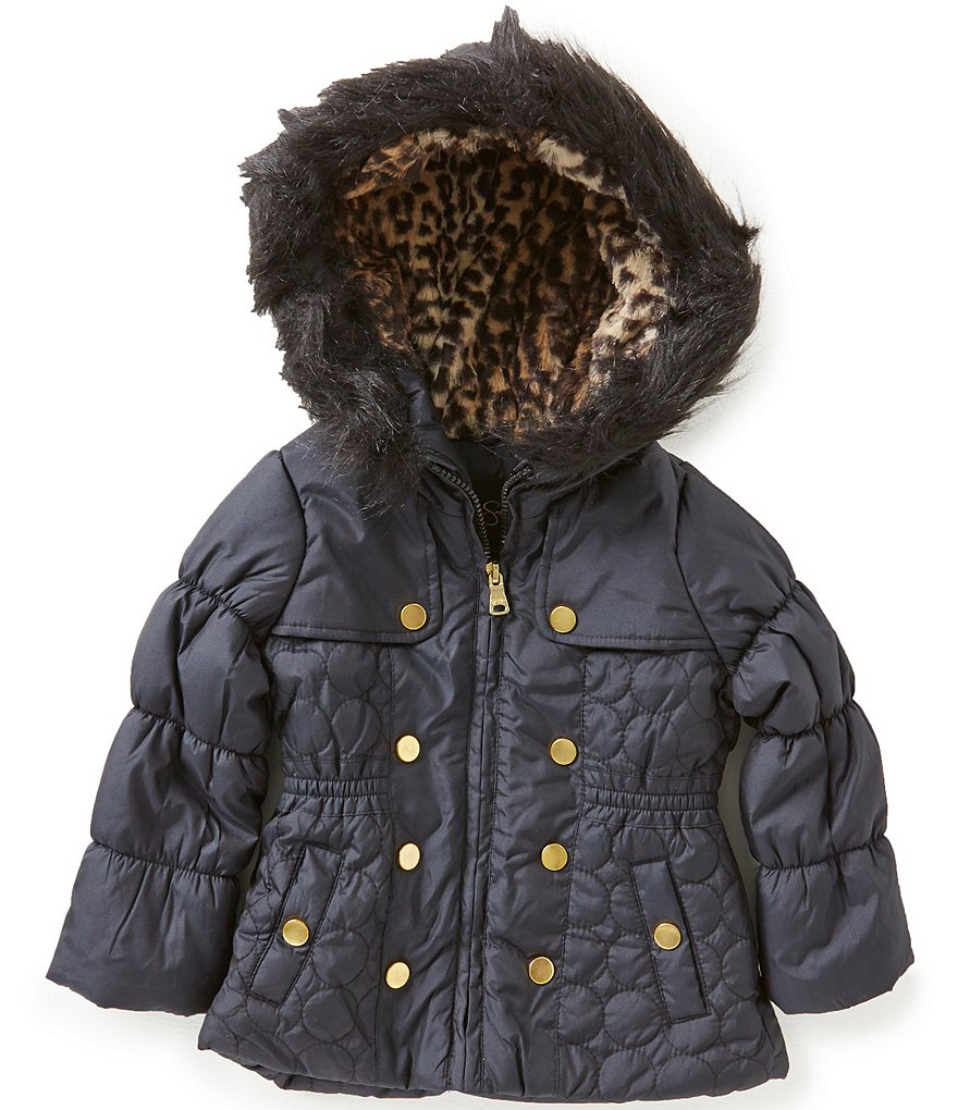Jessica Simpson Little Girls 2T-6X Hooded Fashion Quilted Parka Coat